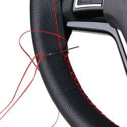 DIY чехлы на руль/Мягкая волокнистая Кожа Оплетка на руль автомобиля с иглой и резьбой аксессуары для интерьера