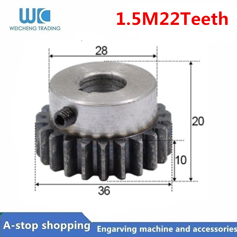 1pcs Gear Pinion 22T Mod 1.5 M Right Teeth 45# Steel Positive Gear Gear Rack Transmission For Track Rail Engrave Mach
