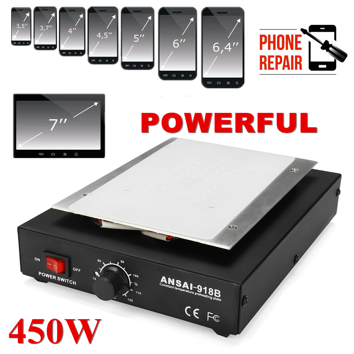 450W Screen Separator Auto Heating Metal Phone Repair Machine Glass Removal Heating Platform Plate LCD Screen Separators