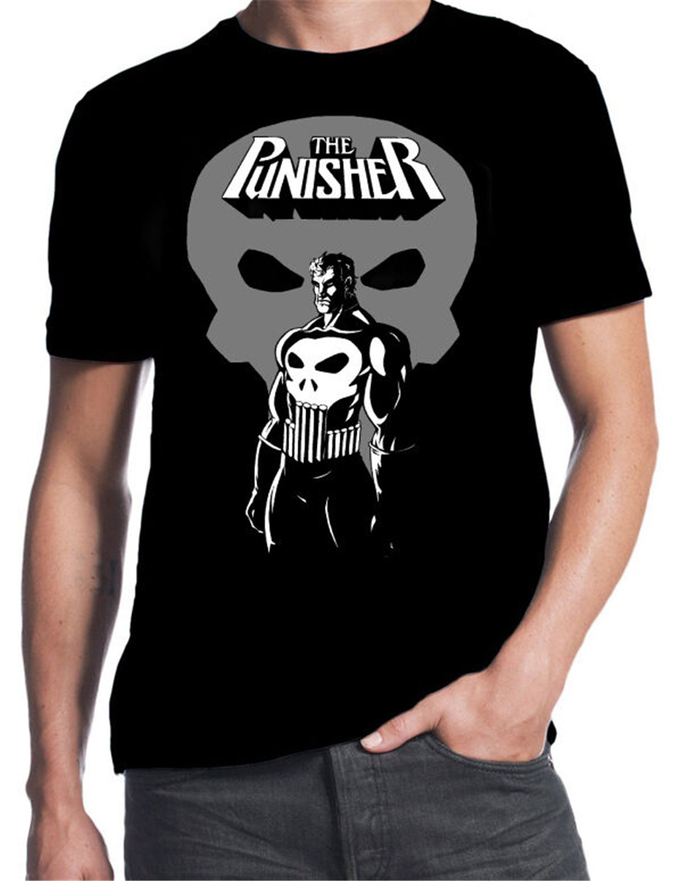 The Punisher Comic Book Skull Thomas Jane Action Movie Cartoon New Mens T-Shirt Tops New Unisex Funny Tee Shirt image