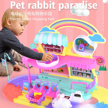 цена на New Children Role-playing Girl Play House Toys Electric Pet Cute Rabbit Park Track Toy Gifts For Kids Girls