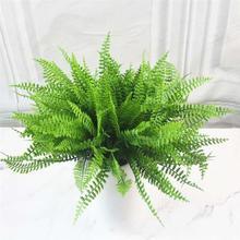 Искусственные растения 7 вилка трава пластиковая зеленая трава пластиковые поддельные листья цветок завод свадебные украшения дома украшение для рождественского стола
