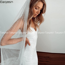 Bridal Veils Voile Velos-De-Novia Comb Champagne Bride-Accessories Tulle Pearls Ivory