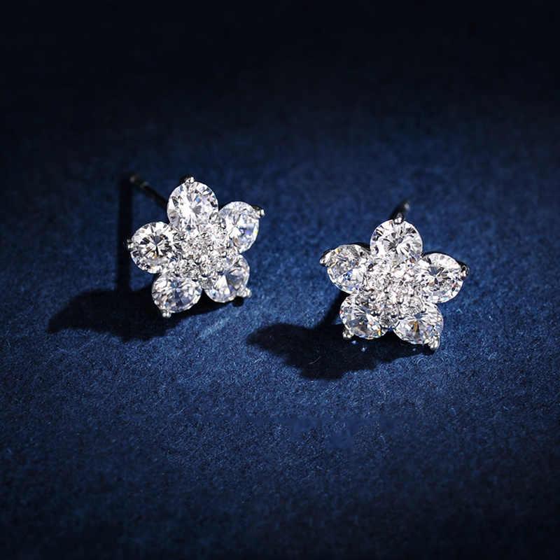 Zaawansowane podobne kolczyki Moissanite damska biżuteria Top jakość aaa CZ w kształcie kwiatu kolczyki dla kobiet Brincos ślubne