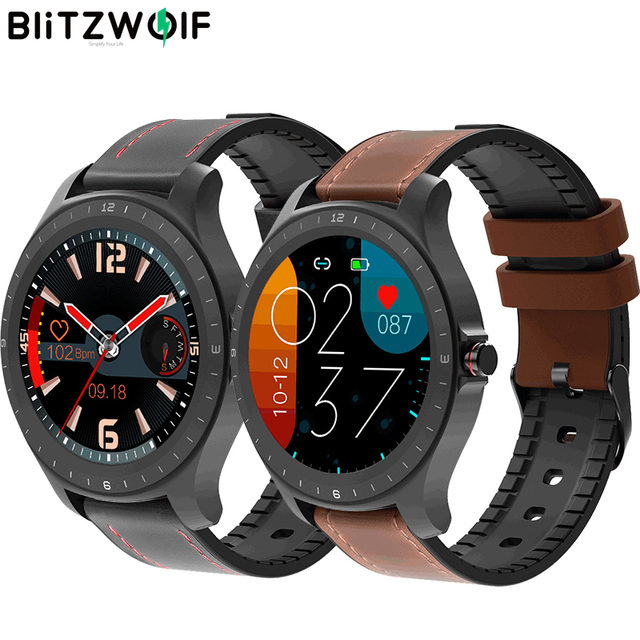 BlitzWolf BW HL2 1.3 אינץ מלא עגול מגע מסך קצב לב לחץ דם צג בהירות בקרת 50 שפה חכם שעון