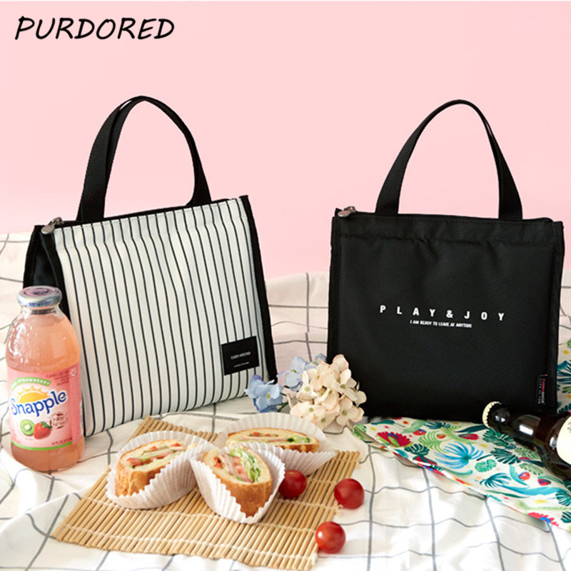 PURDORED 1 Pc Portable Stripe Lunch Bag For Women Food Picnic Cooler Box Insulated Tote Bag Container Bento Bag Organizer
