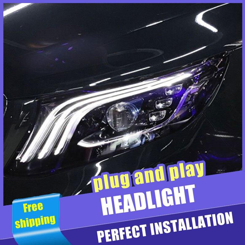 2 pièces voiture Style LED phares pour benz Vito 2016-2019 pour Vito lampe frontale LED DRL lentille Double faisceau H7 caché xénon bi xénon lentille