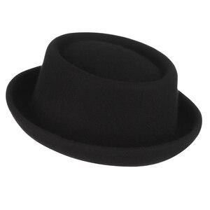 Image 2 - GEMVIE klasyczne 100% wełna miękki Pork Pie kapelusz Fedora dla mężczyzn kobiety jesień zimowa wełniana czapka zakrzywione rondo