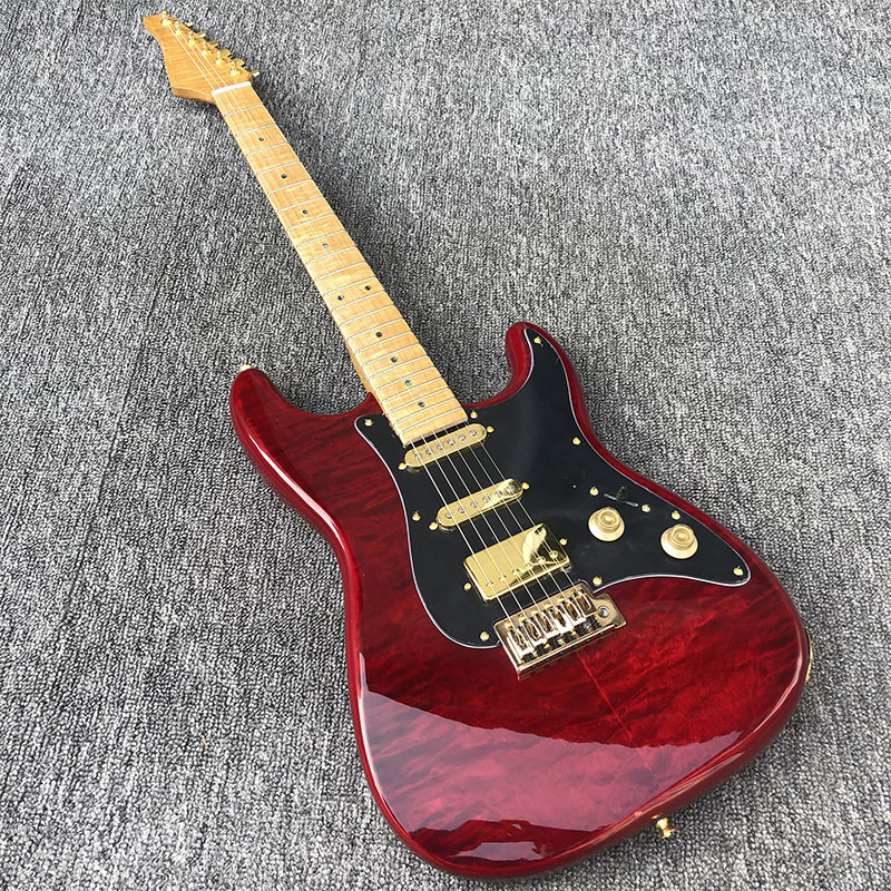 2020 New High Quality St Electric Guitar,Tiger Maple Neck,reverse Headstock,free Shipping