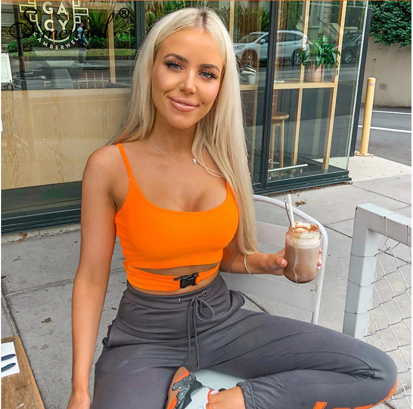 Womens Zomer Sexy Crop Tops Vest Fluorescerende Spaghetti Band Harajuku Solid Camis Vrouwen Tanks Tops Streetwear Mujer