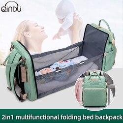 Mochila para pañales multifunción 2 en 1, mochila de viaje portátil de gran capacidad, bolso plegable para mamá, mochila para cuna, mochila elegante resistente al agua