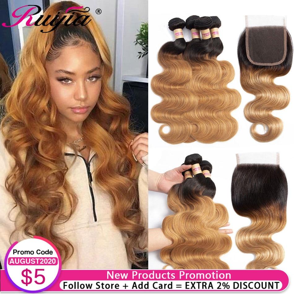 T1B Brazilian Ombre Body Wave Bundles With Closure Human Hair Weave 3 4 Bundles with Closures Honey Blonde Bundles With Closure