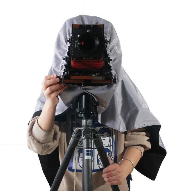 ETone parasol de enfoque de tela oscura para cámara de gran formato 4x5, color negro