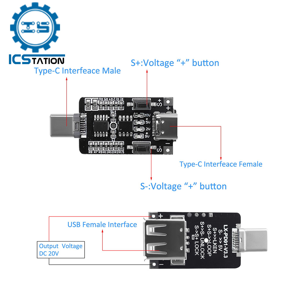 100 Вт 5 А USB Type-C PD приманка ТРИГГЕРНАЯ плата 5 в 9 в 12 В 15 в 20 в выход PD 2,0 3,0 триггерный адаптер кабель подключение опрос детектор