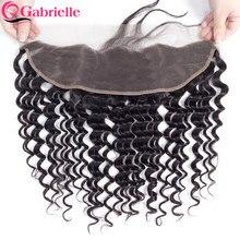 Gabrielle cabelo natural remy, cabelo natural pré-selecionado com renda frontal 13x4 fechamento frontal, ondulado cabelo do bebê