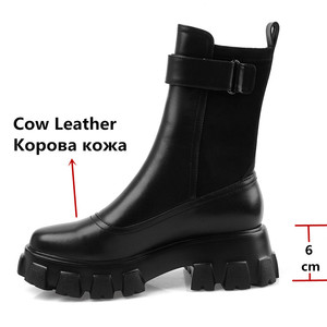 Image 2 - FEDONAS Chunky Heels Platform Boots Winter New Genuine Leather Women Ankle Boots Party Night Club Shoes Woman Motorcycle Boots