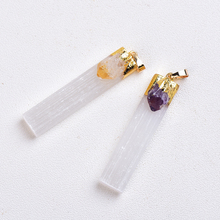 1PC Natural Amethyst Citrine Selenite Plaster Pendant Rock Mineral Specimen Jewelry Reiki Healing Stone Add Charm Gifts Souvenir
