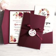 100 шт. свадебные приглашения, синие карманные бордовые поздравительные карты с конвертом, вечерние на заказ с лентой и биркой