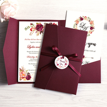 Convites de casamento azul de bolso, cartões de saudações borgonha com envelope festa personalizada com fita e etiqueta, 100 peças