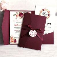 Tarjetas personalizadas para fiestas, postales de felicitación o invitación con sobre color borgoña y azul, con cinta y etiqueta, para boda, 100 piezas