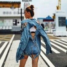 ins CHIC Runway Designer Sexy Backless Lacing Chains Women Denim Jacket Harajuku