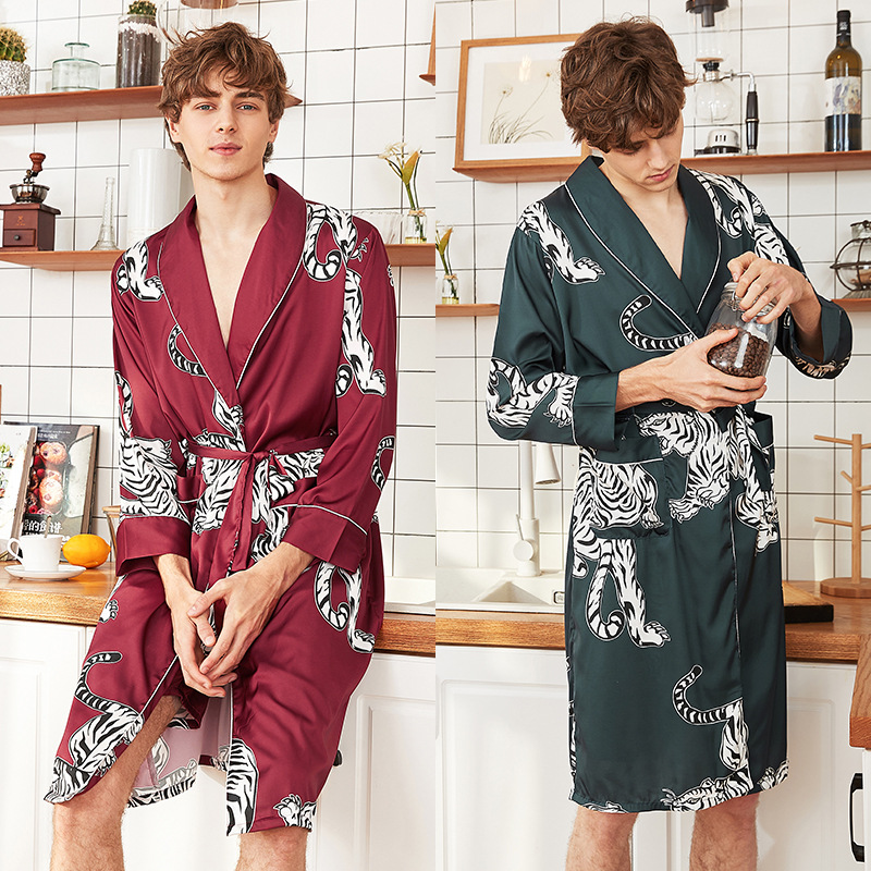 Men Silk Satin Kimono Summer Bathrobe Red Tiger Knee Length Long Sleeve Bath Robe Dark Green Dressing Gown For Male Sleepwear