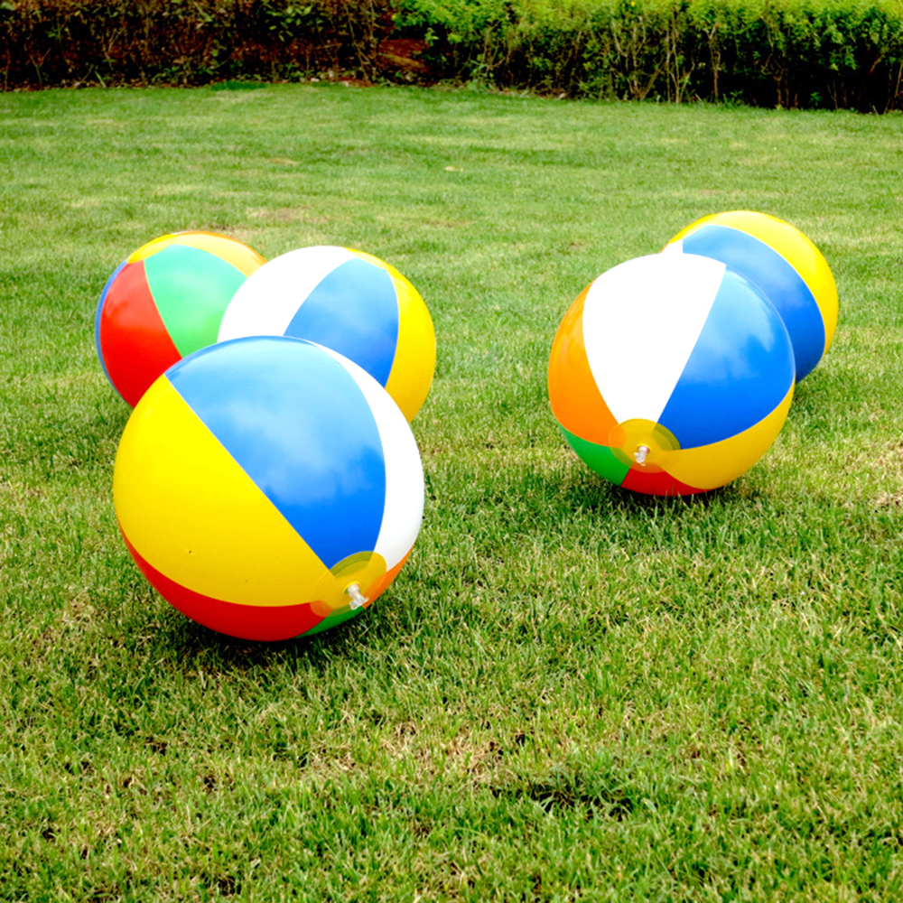 5pcs 14inch Inflatable PVC Water Balloons Beach Balloons Kids Learning Beach Pool Rainbow Ball Toys Beach Swimming Tools