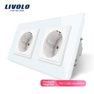 Image 2 - Livolo EU électrique Standard double Prise De Courant Murale, 4 couleurs de Panneau de Verre En Cristal, 16A 2 broches, godemichet anal prise
