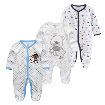 0-12Months Baby Rompers Newborn Girls&Boys 100%Cotton Clothes of Long Sheeve 1/2/3Piece Infant Clothing Pajamas Overalls Cheap - baby romper11, 6M