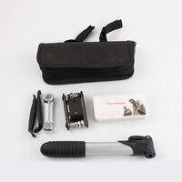 Portátil 16-em-1 multifuncional conjunto kit de ferramentas de reparo de pneus inflator pacote de ferramentas de equitação profissional