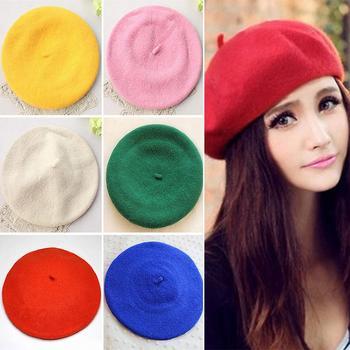 Women Girl Beret French Artist Warm Wool Winter Beanie Hat Cap Vintage Plain Beret Hats Solid Color