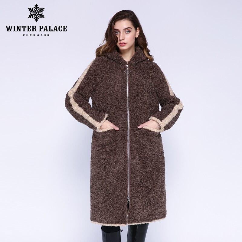 WINTER PALACE 2019 Women's New Wool Coat Long Hooded Trench Coat Granular Wool Contains 30% Zipper Winter Warm Fur Coat