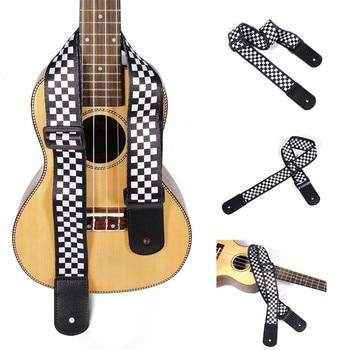 dedo ma 52 fashionable nylon adjustable guitar bass strap dark red black 1pcs Ukulele Strap Black White Plaid Adjustable Hawaii Acoustic Guitar Strap Belt Ukulele Bass Guitar Part Accessories