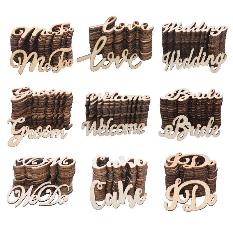 15/30 stücke Vintage Liebe Buchstaben Nur Verheiratet Braut Zu Werden Holz Hochzeit Confetti Tisch Dekoration DIY Valentinstag Holz handwerk