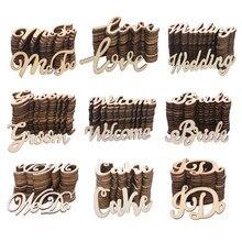 Lettres d'amour Vintage, 15/30 pièces, confettis de mariage en bois, pour future mariée, décoration de Table, bricolage artisanal en bois pour la saint-valentin