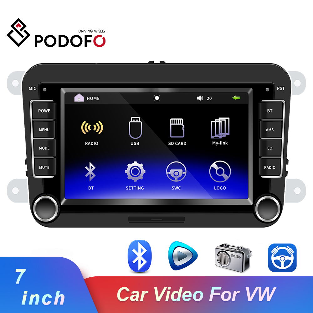 Podofo Car Multimedia Player 7'' 2DIN Android IOS Mirror Link Car Radios 2 Din Bluetooth Mp5 Audio Player Audio Stereo For VW