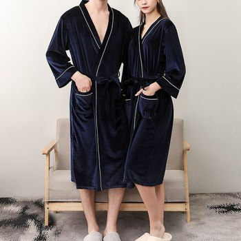V-Neck Warm Flannel Robe Winter Couple Style Long Sleeve Bathrobe Sexy Women Men Nightgown Lounge Sleepwear Home Clothes image