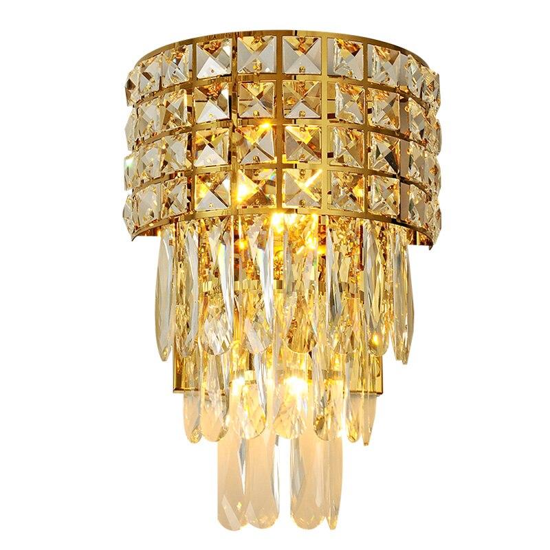 Pós moderna cristal conduziu a lâmpada de parede ferro quarto iluminação cabeceira escadas do corredor ouro luxo luminária luzes entrada do hotel
