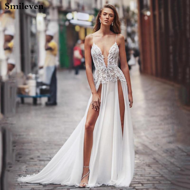 2019 Sexy Beach Wedding Dress High Split Lace Bridal Dresses Spaghetti Strap Backless Boho Wedding Gowns Vestido De Noiva