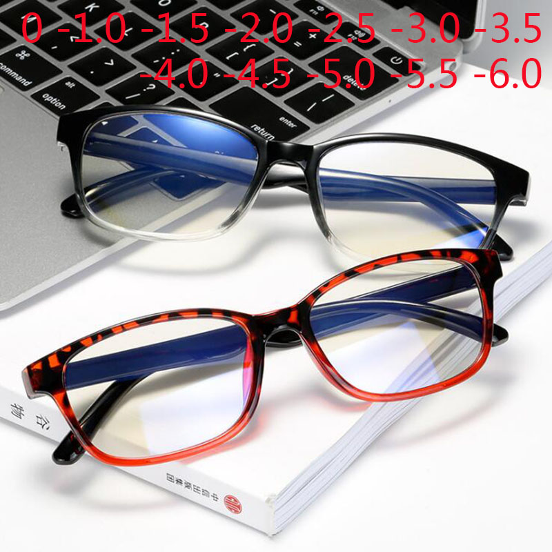 Anti-blue Light Square TR90 Finished Myopia Glasses Men Women Short-sight Eyewear -1.0 -1.5 -2.0 -2.5 -3 -3.5 -4 -4.5 -5 -5.5 -6