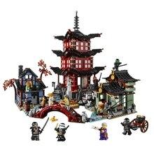 737 шт Diy ниндзя храма Airjitzu Ninjagoes маленькая версия строительные блоки набор совместим с Legoinglys игрушки для детей Кирпичи