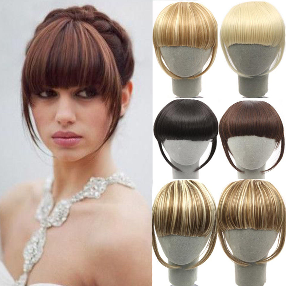 SHANGKE Fringe Clip In Hair Bangs Hairpiece Clip In Hair Extensions Heat Resistant Synthetic Fake Bangs Hair Piece 8 Colors