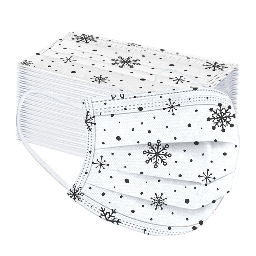 50 шт. Рождественская маска с принтом для взрослых одноразовая дышащая маска для ушей для рта Нетканая эластичная маска для лица