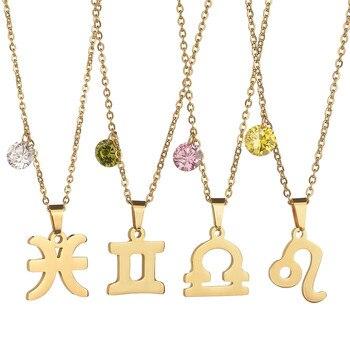 Skorpion zodiak 12 konstelacji naszyjnik złoty kolor naszyjnik Choker ze stali nierdzewnej naszyjnik dla kobiet biżuteria collier femme 2020
