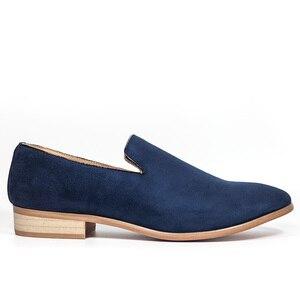 Image 3 - حذاء رجالي جديد موضة 2018 من جلد الغزال بدون كعب حذاء أكسفورد للرجال غير رسمي حذاء رجالي بمقدمة مدببة