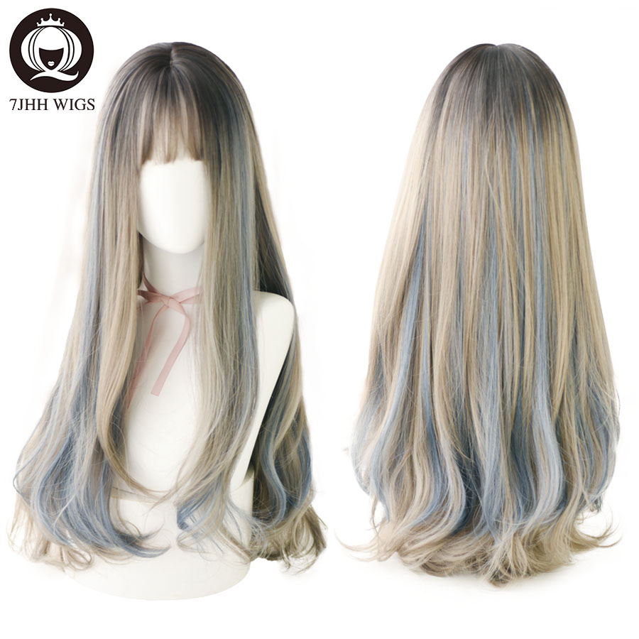 7JHH WIGS Layer Blue Brown Black LOLITA Wigs With Bangs Long Straight Omber Purple Noble Wigs For Women Fashion Cosplay Wig