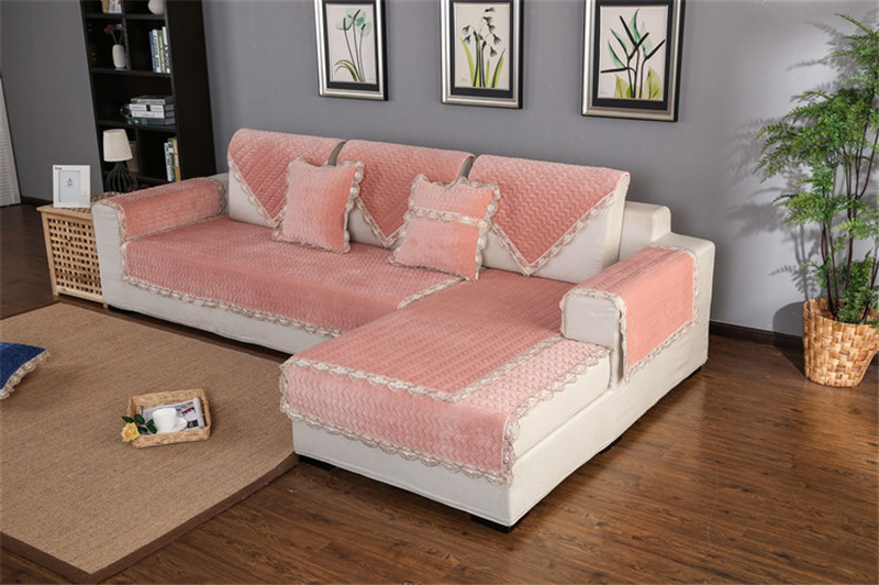 Thick Slip Resistant Couch Cover for Corner Sofa Made with Plush Fabric Including Lace for Living Room Decor 60