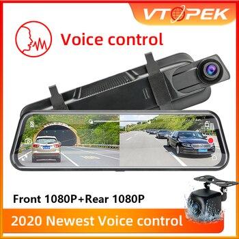 "T29S 10""IPS Screen 1080P Car DVR Voice Control Stream Media Dash Camera Dual Lens Video Recorder Rearview Mirror 1080p Rear"