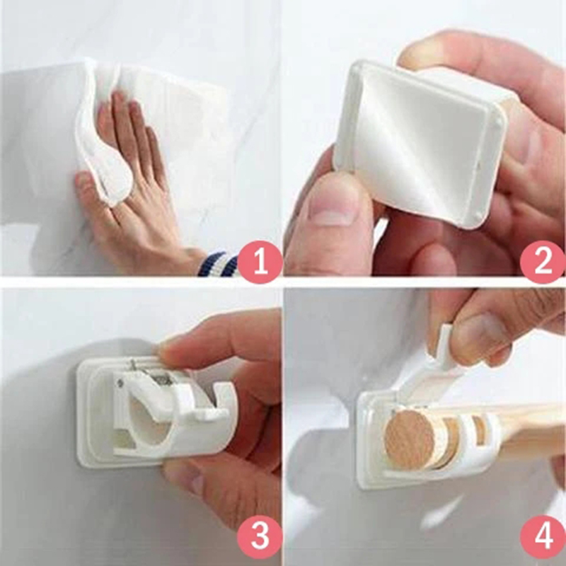 2/4/6pcs Nail-free Adjustable Rod Bracket Holders Self-adhesive Wall Mount Curtain Pole Wall Brackets for Home Bathroom E7