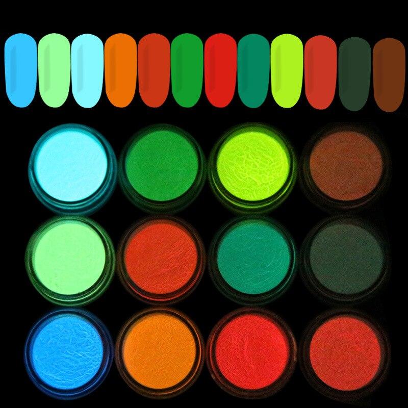 1 коробка флуоресцентная пудра для ногтей 12 цветов Неон фосфор красочный блеск для дизайна ногтей 3D светящиеся пылезащитные украшения
